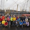 Half of the 38th Voyagers pose in front of the CHARLES W. MORGAN during their orientation day at Mystic Seaport on April 26, 2014.