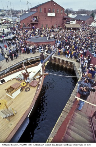 March 25, 2000 - The AMISTAD is launched from the Museum's Shipyard.