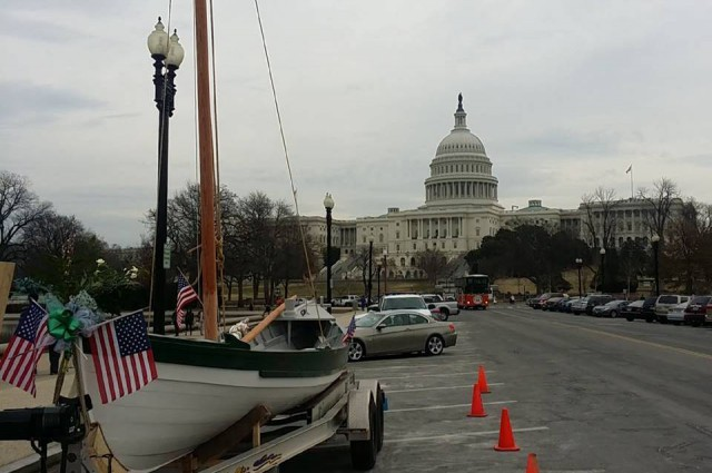 The Alexandria Seaport Foundation's whaleboat, which was christened on Capitol Hill on March 12, 2014, is one of 10 whaleboats being built for the Charles W. Morgan restoration. Photo: Alexandria Seaport Foundation