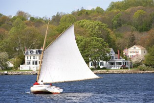 Enjoy a sail aboard the 20-foot Crosby catboat reproduction, the BRECK MARSHALL.