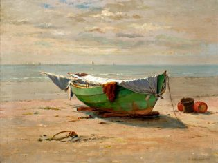 """William Partridge Burpee (1846-1940), """"Swampscott Dory,"""" ca. 1920, Oil on Canvas, 18 x 24 in., New Britain Museum of American Art, Gift of Charles J. and Irene Hamm"""