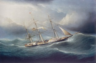 "Oil Painting, ""Ship in a Gale"" by James E. Buttersworth 1949.3176"