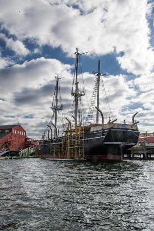 The CHARLES W. MORGAN at the Museum's Shipyard, March 2014