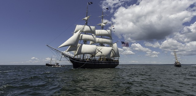 The CHARLES W. MORGAN on her first sea trial on June 7, 2014