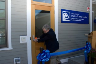 September 2007 - Professor Jim Carlton opens the door to the Carlton Marine Science Center for the first time.