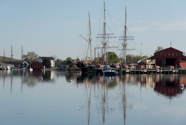 The newly restored Charles W. Morgan docked at the Henry B. duPont Preservation Shipyard at Mystic Seaport.