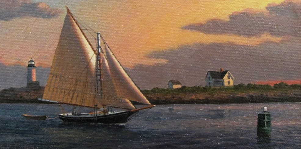 "Ray Crane, ""Straitsmouth Sunset,"" 6 x 9, Oil"