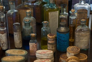 The containers (many with original contents) in the H.R. & W. Bringhurst Druggists and Chemists building at Mystic Seaport are typical of those in use from 1870 to 1885.