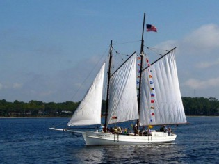 The GOVERNOR STONE sailing home March 22 after an extensive restoration. Photo:  Friends of the Governor Stone, Inc.