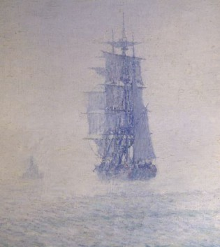 "Painting of the C.W. MORGAN entitled ""Grey Fog"" by Clifford Ashley. Mystic Seaport accession number 1949.754"