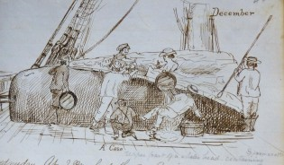 Image from log of CLARA BELL. Log 164. G.W. Blunt White Library. Mystic Seaport.
