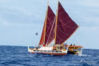 Hōkūle'a under sail. Credit: Polynesian Voyaging Society