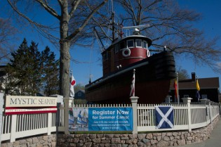 "Tugboat KINGSTON II is moved to the Museum's main entrance in celebration of the new exhibit ""Tugs!"" - May 2010"