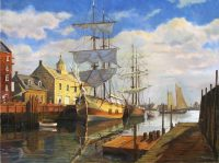 Kubitz_ Two Barkentines Docked-Port of Boston c.1880
