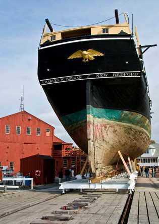 The<em> Charles W. Morgan</em> in the Henry B. duPont Preservation Shipyard after she was hauled out of the Mystic River in November, 2008.