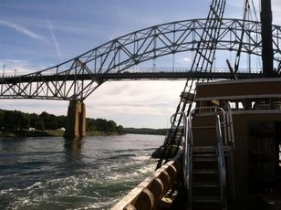Mayflower II at the Sagamore Bridge in Cape Cod Canal on August 7, 2013. Photo: Cape Cod Times/George Brennan