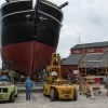 The Charles W. Morgan was rolled out onto the Museum's shiplift on Wednesday, June 25.