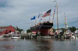 The Charles W. Morgan awaiting her launch. July 21, 2013