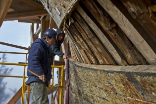 Museum shipwrights working on the Morgan's hull - March 2012