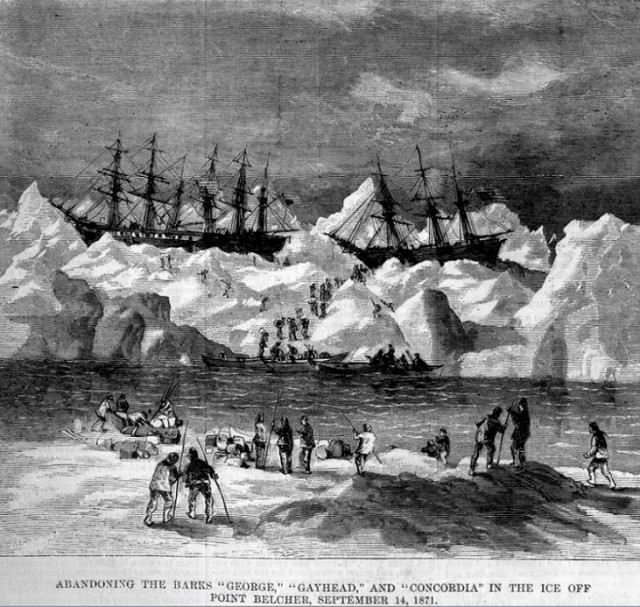 Abandonment of the whalers in the Arctic Ocean, September 1871, including the George, Gayhead, and Concordia. Scanned from the original Harper's Weekly 1871. Courtesy of Robert Schwemmer Maritime Library