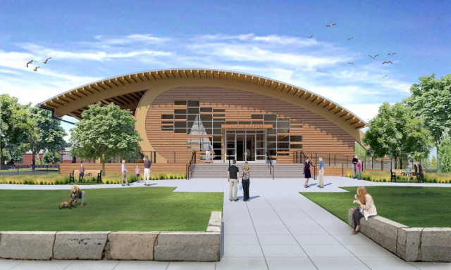 The proposed design of the 14,000 square-foot exhibit hall celebrates the craftsmanship of wooden ships. Image courtesy of Centerbrook Architects and Planners/Kent+Frost Landscape Architecture
