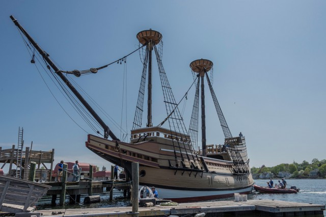 Mayflower II was put back in the water on May 11 in preparation for her return to Plymouth.