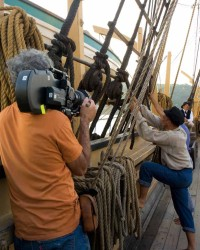 "Filming onboard the CHARLES W. MORGAN for ""Into the Deep"""