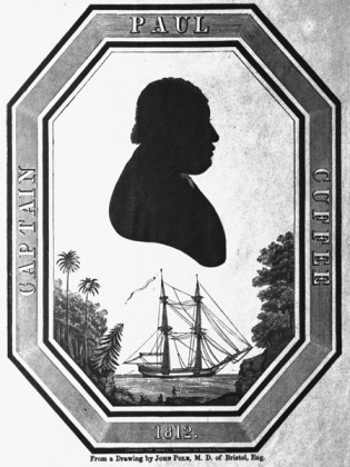 "Silhouette engraving of ""Captain Paul Cuffee, 1812""; engraved by Mason & Maas for Abraham Pennock, from a drawing by John Polk, M.D. of Bristol, England (marked on lower half). This was the frontispiece to the exceedingly rare volume 5 of the periodical, ""The Non-Slaverholder"" (Philadelphia, ca 1850). MSM Accession Number: 1999.98.1"
