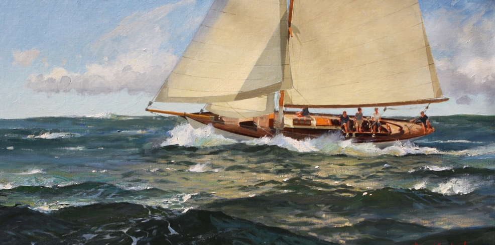 "Spanking Breeze on a Starboard Tack,"" by David Bareford, Oil, 24"" x 40"""