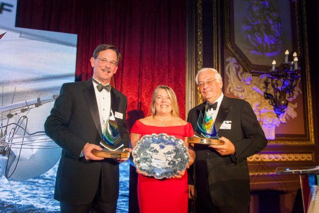 Dawn Riley receives the American and the Sea Award from Mystic Seaport Museum in New York City, October 3, 2018. Pictured (left to right): Museum president Steve White, Dawn Riley, Museum board chairman Barclay Collins. Photo credit: Mystic Seaport Museum