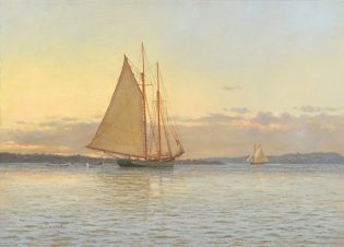 "(Pictured: Laura Cooper, ""Mackerel Seiner Returning to Port, Salem, MA 1890,"" Oil 13 x 18 (Photo credit: Rieta Park/Mystic Seaport)"