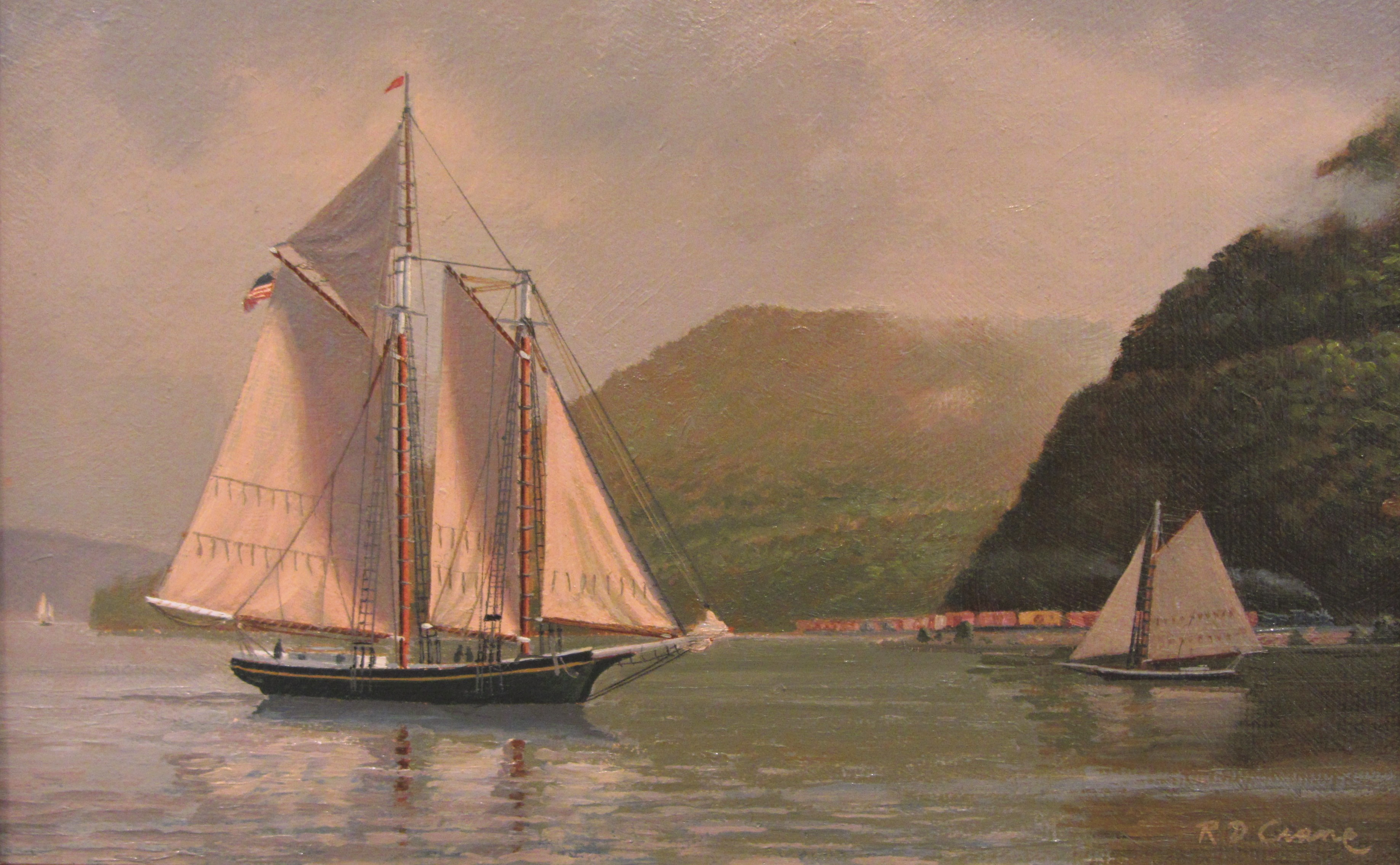 Ray Crane, Dissolving Mist on the Hudson, Oil, 6 x 9. Photo credit: Rieta Park/Mystic Seaport