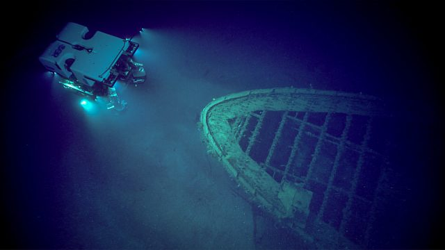 ROV Deep Discoverer looks at the bow of a shipwreck. (Photo Credit: Global Foundation for Ocean Exploration)