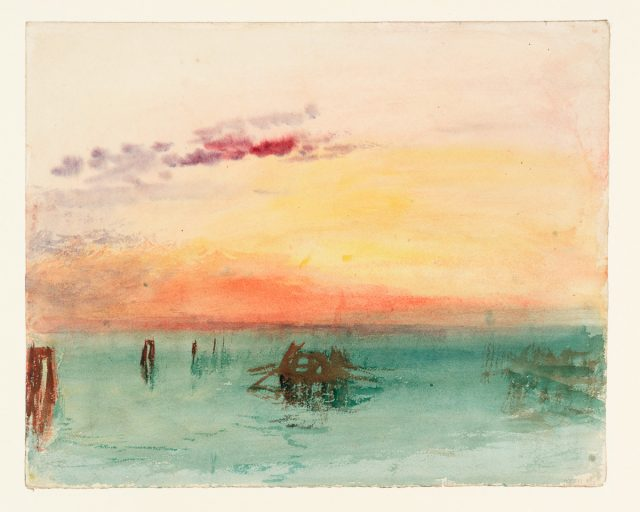 """""""Venice: Looking across the Lagoon at Sunset,"""" 1840, J .M. W. Turner (1775–1851) Tate: Accepted by the nation as part of the Turner Bequest 1856 ©Tate 2019"""