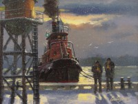 Austin Dwyer, A Well Deserved Break, Oil, 7 ½ x 9 ½. Photo credit: Rieta Park/Mystic Seaport