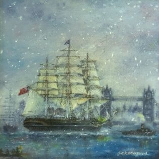 Yoko Gados, Cutty Sark Christmas, Oil, 6 X 6