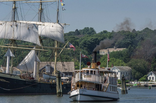 Climb aboard the veteran training ship JOSEPH CONRAD and 1908 steamboat SABINO at Mystic Seaport.