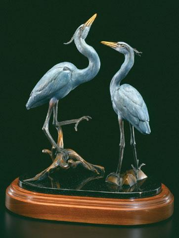 Moon Struck-Pair of Herons in Courtship Ritual - Kim Shaklee
