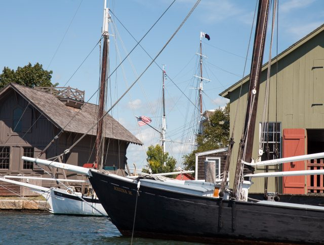 In this picture is the Museum's sardine carrier REGINA M, the oyster sloop NELLIE, and in the background are the masts of the whaleship CHARLES W. MORGAN. Clink on this image to start a slide show.