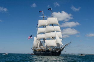 The CHARLES W. MORGAN sailing en route to Newport on June 15, 2014.